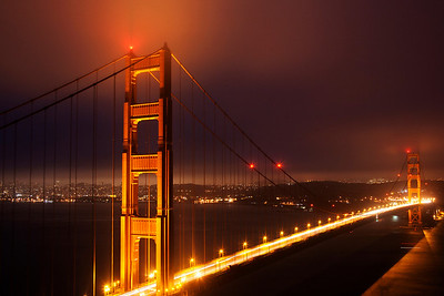 Golden Gate Bridge on a Foggy Night - San Francisco
