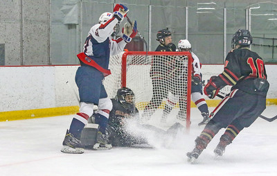 no.67, Michael Kocsis and no.42, Sean Kiewe [in back] Wall v/s Hillsborough hockey in Wall, NJ on 1/4/19. [DANIELLA HEMINGHAUS | THE COAST STAR]