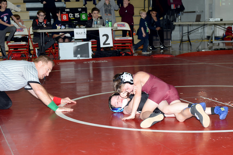 R.J. Lamb and Brody Appel, both age 7, square off during the Wrestling Fundraiser held at Wall High School on 01/13/2019.(STEVE WEXLER/THE COAST STAR).