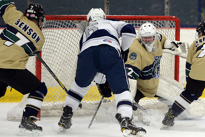 #6, Aidan Tolnai of the Manasquan High School Varsity Ice Hockey Team takes a shot on the Freehold net in their game played on 01/16/2019. (STEVE WEXLER/THE COAST STAR).