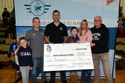 Wrestling Fundraiser held at Wall Township High School with Nolan and Michael Parnell, Rob Philhower, Honoree Grace Philhower, Jackie Philhower, and Dennis McGinnis of Jason's Dreams For Kids on 01/13/2019. (STEVE WEXLER/THE COAST STAR).
