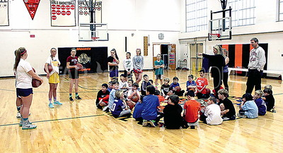 Spring Lake Basketball Clinic at HW Mountz Elementary School 01/07/2016: 7th grade girl's team coaches elementary students