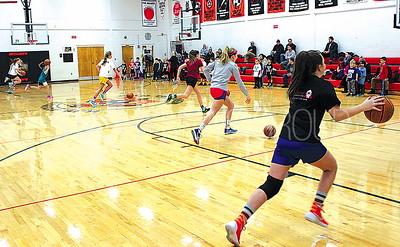 Spring Lake Basketball Clinic at HW Mountz Elementary School 01/07/2016: 7th grade girl's team coaches elementary students