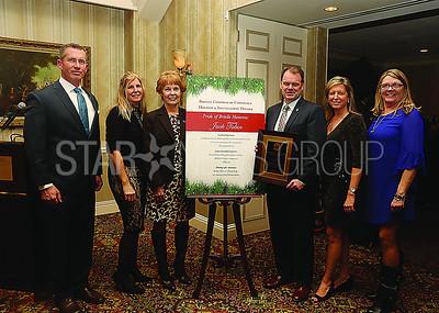Pride of Brielle Honoree// L to R: Chamber Board..Derek Ward Past Pres. Sue Baldwin Secretary. Kathie Adams Tres. Honoree Jack Tobin. President Heidi Wittenberg. Sue Loveland VP.