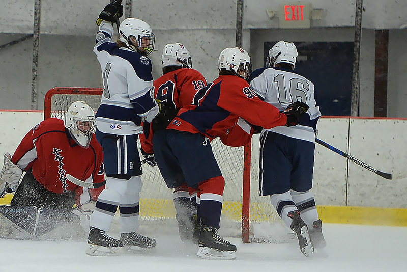 Manasquan Goal by #16, Matt Franzoni in the game against Wall Township High School at the Jersey Shore Arena on 01/30/2019.(STEVE WEXLER/THE COAST STAR).