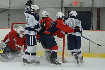 Manasquan Goal by #16, Matt Franzoni in the game against Wall Township High School at the Jersey Shore Arena on 01/30/2019. (STEVE WEXLER/THE COAST STAR).