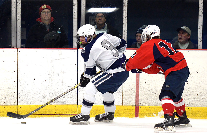 Mike Franzoni #9 of the Manasquan High School Boy's Varsity Ice Hockey Team had a busy night scoring 4 goals against Wall Township High School as Manasquan High School easily defeated Wall by a score of 8-1 at the Jersey Shore Arena on 01/30/2019.(STEVE WEXLER/THE COAST STAR).