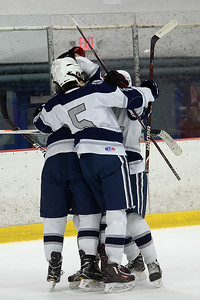 Manasquan High School Boy's Varsity Ice Hockey team celebrates a goal by Aidan Tolnai early in the game against Wall Township High School at the Jersey Shore Arena on 01/30/2019. (STEVE WEXLER/THE COAST STAR).