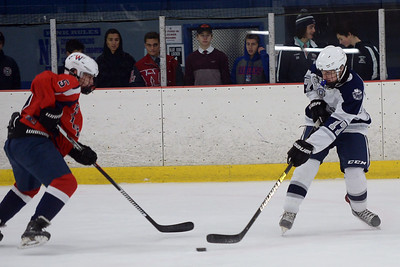 #17, Ryan Scott of the Manasquan High School Boy's Varsity Ice Hockey Team takes a shot on the Wall Township High School net in the game played at the Jersey Shore Arena on 01/30/2019. (STEVE WEXLER/THE COAST STAR).