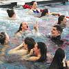 Manasquan swimming @ Neptune Aquatic Center 2/17/2017: Manasquan Girls Swim Team celebrating win