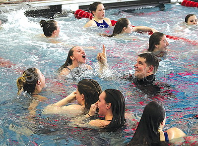 Manasquan swimming @ Neptune Aquatic Center 2/17/2017: Manasquan Girls Swim Team celebrating win