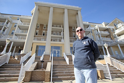 Peter Cahill of Spring Lake has run 38 of the last 41 Spring Lake 5 Races and is photographed outside of The Essex and Sussex Condominium in Spring Lake where the race starts and finishes on Tuesday Feb. 19, 2019 (MARK R. SULLIVAN /THE COAST STAR)