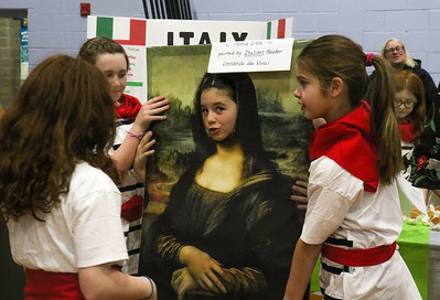 Emily Giunco (in the mona lisa). The Girl Scouts of Brielle, Manasquan, Spring Lake, and Spring Lake Heights participating in World Day at Brielle Elementary School in Brielle, NJ on 2/27/19. [DANIELLA HEMINGHAUS | THE COAST STAR]