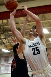 #25, Alex Galvan of the Manasquan High School Boy's Varsity Basketball Team takes a close in shot in the NJSIAA Group 2 Semi Final game against Haddonfield High School played at Perth Amboy gymnasium on 03/06/2019. (STEVE WEXLER/THE COAST STAR).
