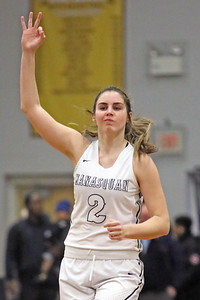 Lola Mullaney signals a three pointer after she sank a three point basket as Manasquan High School takes on Manchester High School during the NJSIAA Girls Group 3 semifinal held at Central Regional High School in Berkeley Township on Thursday March 7, 2019. (MARK R. SULLIVAN /THE COAST STAR)
