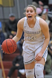 Faith Masonius screms at her team mates as Manasquan High School takes on Manchester High School during the NJSIAA Girls Group 3 semifinal held at Central Regional High School in Berkeley Township on Thursday March 7, 2019. (MARK R. SULLIVAN /THE COAST STAR)