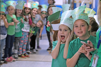 Students at the Spring Lake Heights Elementary School were entertained by members of The Pipes and Drums of the Jersey Shore Shillelagh's celebrating St. Patrick's Day on Friday March 15, 2019. (MARK R. SULLIVAN /THE COAST STAR)