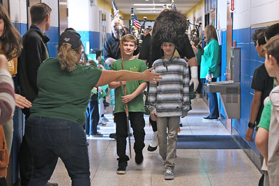 Ty Thermmann and Luke Roy students at the Spring Lake Heights Elementary School lead the parade as they were entertained by members of The Pipes and Drums of the Jersey Shore Shillelagh's celebrating St. Patrick's Day on Friday March 15, 2019. (MARK R. SULLIVAN /THE COAST STAR)