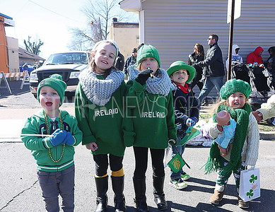 BELMAR ST. PATRICKS DAY PARADE//Jake Osmond 2, Grace Osmond 6,  Lily Osmond 4 of Wall with Colin English 4 and Juliet English 2 of Chatham