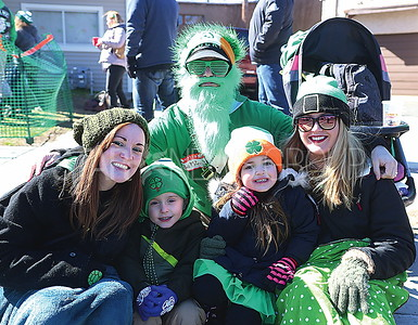 BELMAR ST. PATRICKS DAY PARADE// L to R: Ashley Newman, Lukas Sellers 4, Cali Schmiedl 4, Nicole Schmiedl and (BACK) Stefan Schmiedl all of Wall