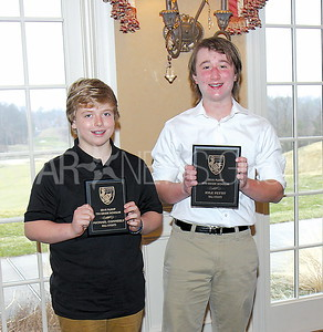 WALL Scholarship photo 03/18/2017 from L to R: Michael Conneely 7th grade (St Rose Grammar School, 3rd time awarded), Kyle Petit 8th grade (Wall Intermediate, 1st time award)