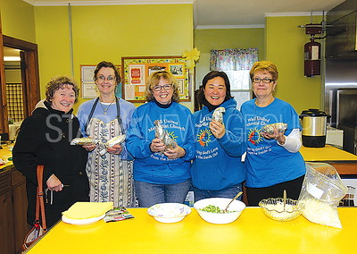 Wall United Methodist Church Baked Potato fundraiser 03/18/2017 from L to R: Shirley Spayd, Jeanne Karol, Mary LaPolla, Pastor Sunny Shim, Donna Graetz all from Wall