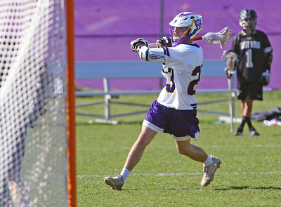Spencer Flynn of St. Rose takes a shot at the Boro goal as St. Rose High School hosted Point Pleasant Borough High School in a boys varsity lacrosse game held in Wall Township on Wednesday April 10, 2019. (MARK R, SULLIVAN/THE COAST STAR)