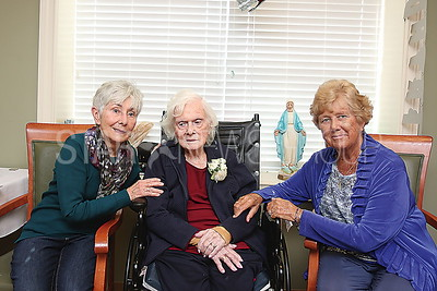 wall Kathleen Farrell 100th birthday  Kathleen ( Center) with her two daughters Kathleen Hammond and Eileen Guertin