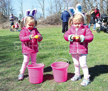 Sea Girt Easter Egg Hunt 04/08/2017 from L to R: Marianna Berberich and Angelina Berberich ages 2 from Sea Girt