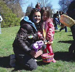 Sea Girt Easter Egg Hunt 04/08/2017 from L to R: Alicia Clark and Pippa Clark age 3 from Wall