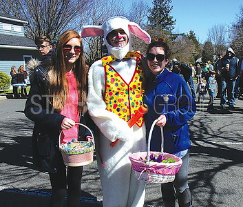 Sea Girt Easter Egg Hunt 04/08/2017 from L to R: Grace Peterson age 15, David Roberts age 16, Grace Gambarony age 15 all form Wall