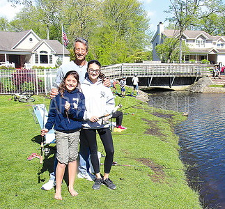 Manasquan PBA Junior Fishing Contest 5/6/2017 from L to R: Jack Newitts, Riley Newitts age 10, Rebecca Stamm age 12 all of Point Pleasant