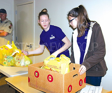 Manasquan Food drive at First Presbyterian 5/6/2017 from L to R:Elizabeth Schucht age 16 and Gabrielle Schucht age 14 both of Brick