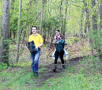 Wall Community Clean-Up Day 5/6/2017 from L to R: Hunter Tyrrell of Wall, Casey Donovan age 16 of Wall working with the Environmental Club to clean up Camp Evans