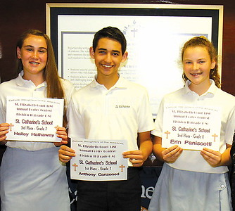 """Spring Lake Poetry award ceremony 5/5/2017 from L to R: 3rd prize """" Hailey Hathaway, Gr.7, lst prize Anthony Canzoneri, Gr.7, 2nd prize """" Erin Paniscotti, Gr.8"""