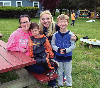 Wall LEAD Graduation 05/12/2017 from L to R: 5th grade teachers Sarah Lynch and son Henry Lynch age 6, Christine Juliand and son William Juliand age 5 all of Wall