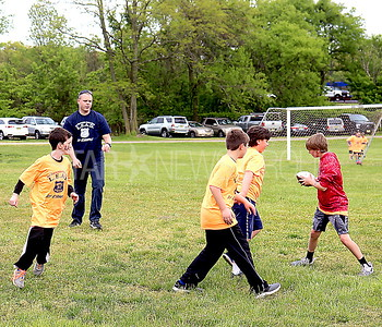 Wall LEAD Graduation 05/12/2017 from L to R: Chris Mason of Wall playing football with LEAD graduates