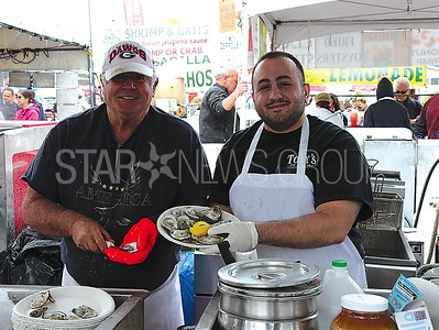 Belmar NJ Seafood Festival 5/20/2017 from L to R: Art Kunach and Mike Perdnito working for Tony's