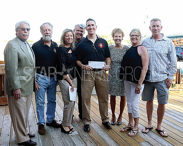 BRL Chamber Commerce// FIRE..L to R:Mayor Nicol. John Pierciey. Heidi Wittenberg. Jim Stenson.Rich Curran.Kathie Adams.Sue Loveland. and Derrick Ward