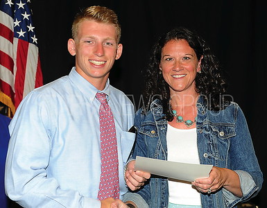 BRIELLE ELEMENTARY SCHOOL 2017 GRADUATION PTO SCHOLARSHIP AWARD JOEY OSTBERG WITH PTO PRESIDENT KATE SHAKUS