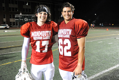 Cousins Dylan Richey #17 of Wall High School and Alec Wells #62 of Manasquan High School are seen at the conclusion of the 2019 All Shore Gridiron Classic at Long Branch, NJ on 07/12/23019. (STEVE WEXLER/THE COAST STAR).