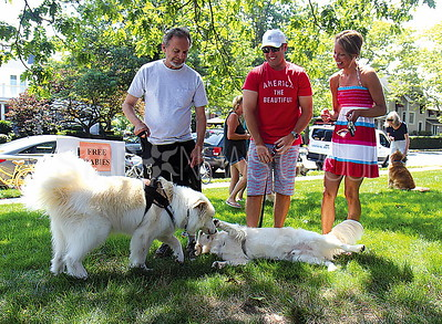 Spring Lake Tails of Hope Pet Festival from L to R: Mark Vanderlinde of Lakewood and his dog Fiona, Matt Quinn and Shanna Quinn of Manasquan with their dog Blake