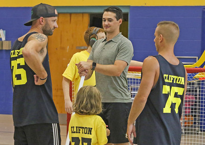 Connor Clifton [center] Boston Bruins player Connor Clifton visits the AMP fitness in Manasquan, NJ on 8/14/19. [DANIELLA HEMINGHAUS]