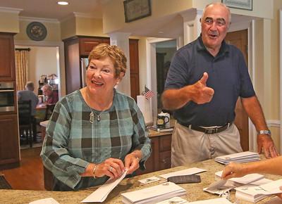 Joyce Cornelius and John Haron The Sea Girt Community Appeal's envelope stuffing in Sea Girt,  NJ on 8/22/19. [DANIELLA HEMINGHAUS]