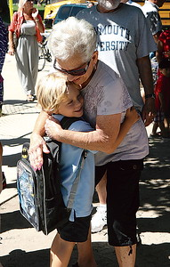 Manasquan Elementary 09.04.13 - 5 year old Jake Romano gets a warm welcome from his grandmother Judy Romano from Toms River who came to pick him up.