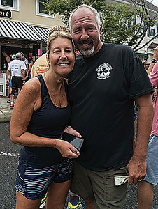 "SB: l-r: kima and terry higgins. favorite bbq food, ""thumanns hotdogs"". sea girt."