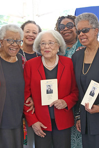 family members of Dr. McAfee's, [L-R]: Marsha Bera-Morris,  Yvonne Boyd, Dr. Velma McAfee-Williams, Shelia McAfee, and Diane McAfee.  A post office dedication ceremony for Dr. Walter S. McAfee in Belmar, NJ on 8/30/19. [DANIELLA HEMINGHAUS]
