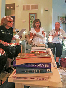 [l-r]: Carol Imbriaco, from Shark River Hills; Denise Vodola, from Wall; and. Patti O'Donnell, from Brick. A book club meeting in Wall, NJ on 8/29/19. [DANIELLA HEMINGHAUS]