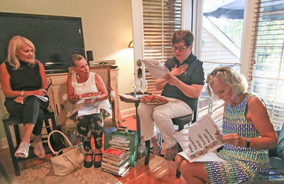 [L-R]: MariAnn Weinberg, from neptune; Kathy Levy, from Spring Lake; Liz Bogardus, from Lakewood; and Joanne Lackett, from Brielle  A book club meeting in Wall, NJ on 8/29/19. [DANIELLA HEMINGHAUS]
