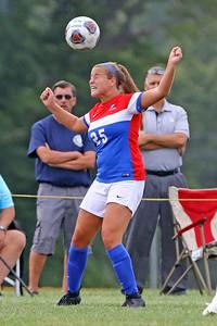 Jamie Valvo gets her head on the ball as Wall Township High School hosted Freehold Borough in a girls varsity soccer match on Thursday Sept. 5, 2019  (MARK R. SULLIVAN THE COAST STAR)